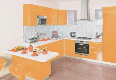 Орнжевая угловая кухня 1