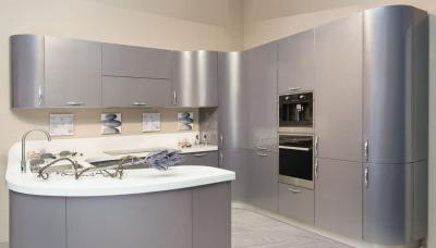 Серая угловая кухня 3