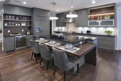 Серая угловая кухня 6