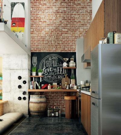 Угловая кухня в стиле лофт 2
