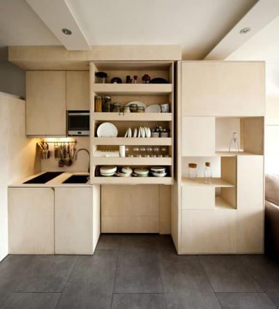 Бежевая кухня 6 кв. м 2