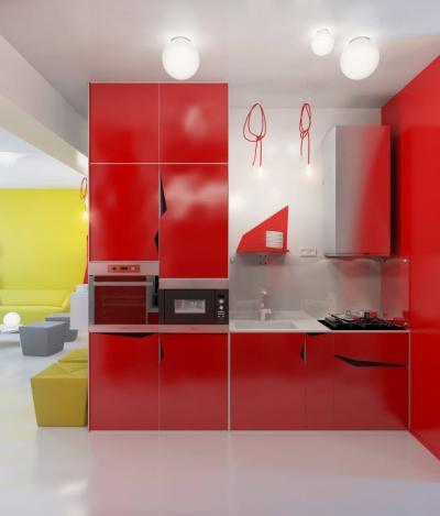 Красная кухня 6 кв.м 2