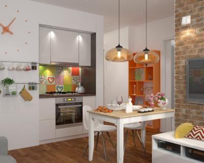 Кухня 6 кв. м в стиле эклектика 2