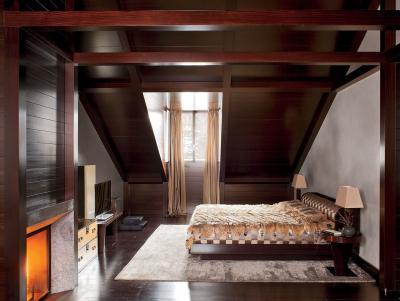 Коричневая спальня 18 кв. м 2