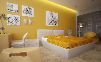 Желтая спальня 18 кв. м 2