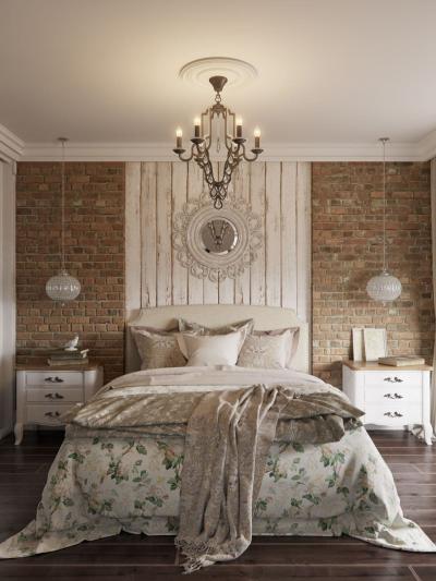 Оформление стен для спальни 2019 кирпич 1
