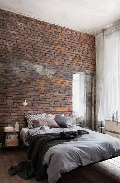 Оформление стен для спальни 2019 кирпич 2