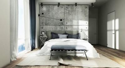 Оформление стен в спальне 2019 бетон 1