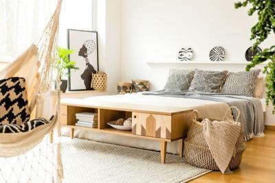 Текстурированные материалы в интерьере спальни 2019 3