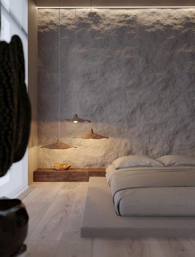 Текстурированные материалы в интерьере спальни 2019 5
