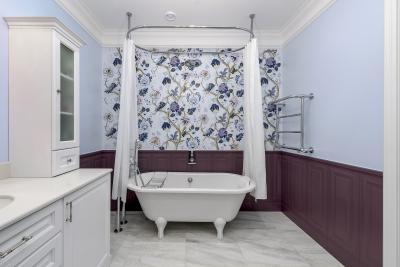 Оформление стен в ванной 2019 крупный принт 2