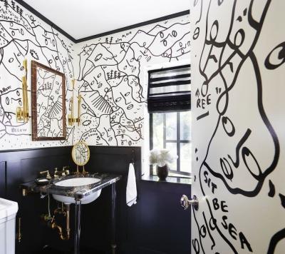 Оформление стен в ванной 2019 крупный принт 4