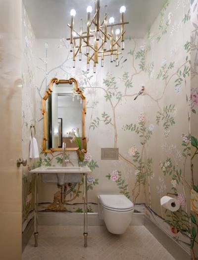 Оформление стен в ванной 2019 крупный принт 5