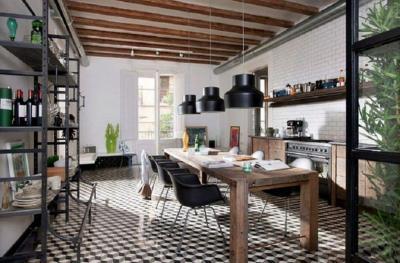 Пол на кухне в стиле лофт 5