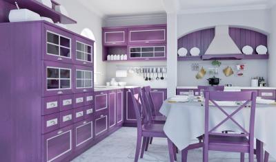 Кухня в стиле прованс фиолетовая 1