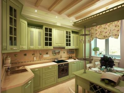 Кухня в стиле прованс зеленая 1