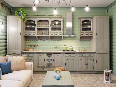 Оформление стен в кухне в стиле прованс 1