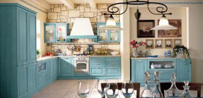 Оформление стен в кухне в стиле прованс 2