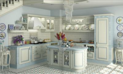 Оформление стен в кухне в стиле прованс 3