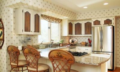 Оформление стен в кухне в стиле прованс 6