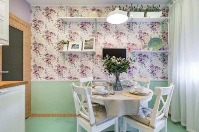 Оформление стен в кухне в стиле прованс 8