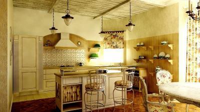 Освещение на кухне в стиле прованс 2