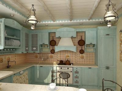 Потолок для кухни в стиле прованс 4