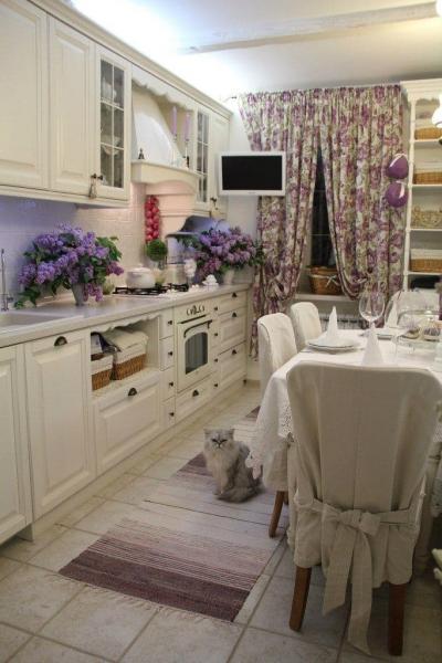Шторы для кухни в стиле прованс 1