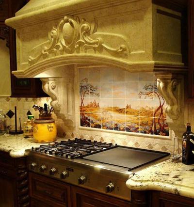 Дизайн фартука для кухни из плитки 9