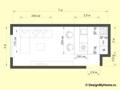 Планировка кухни до 5 кв.м (Instilier, г. Москва)