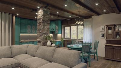 Интерьер дома в стиле шале - проект от