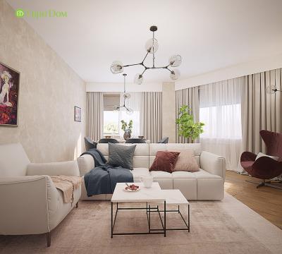 Дизайн двухкомнатной квартиры 70 кв. м в современном стиле - проект от Evrodom