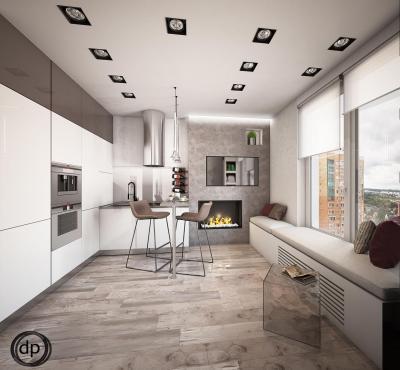 Кухня 12 кв. м (Диана Пономарева, г. Москва) 3