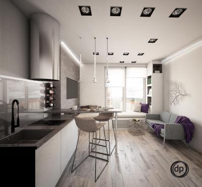 Кухня 12 кв. м (Диана Пономарева, г. Москва) 1