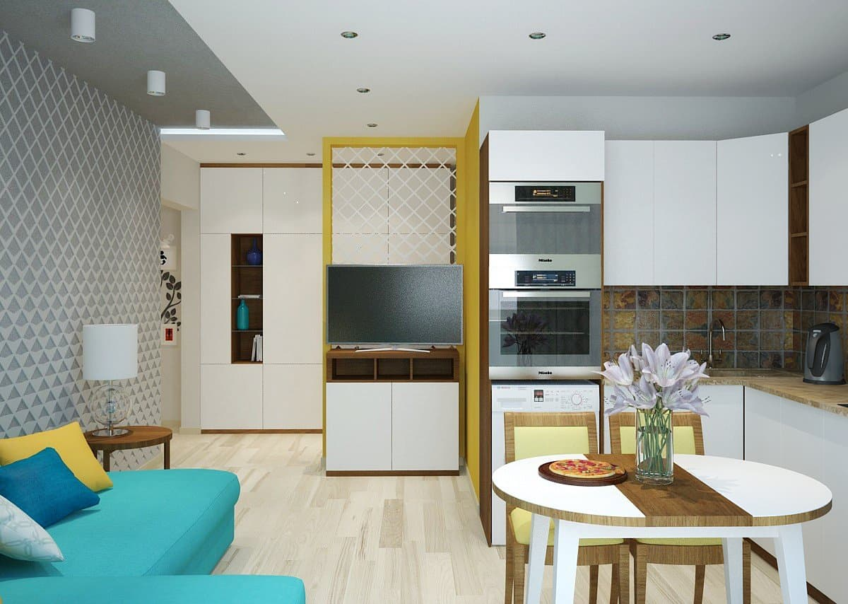 Дизайн-проект кухни-гостиной в современном стиле