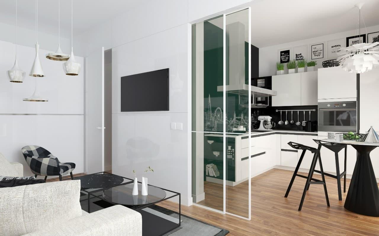Черно-белый интерьер 1-комнатной квартиры