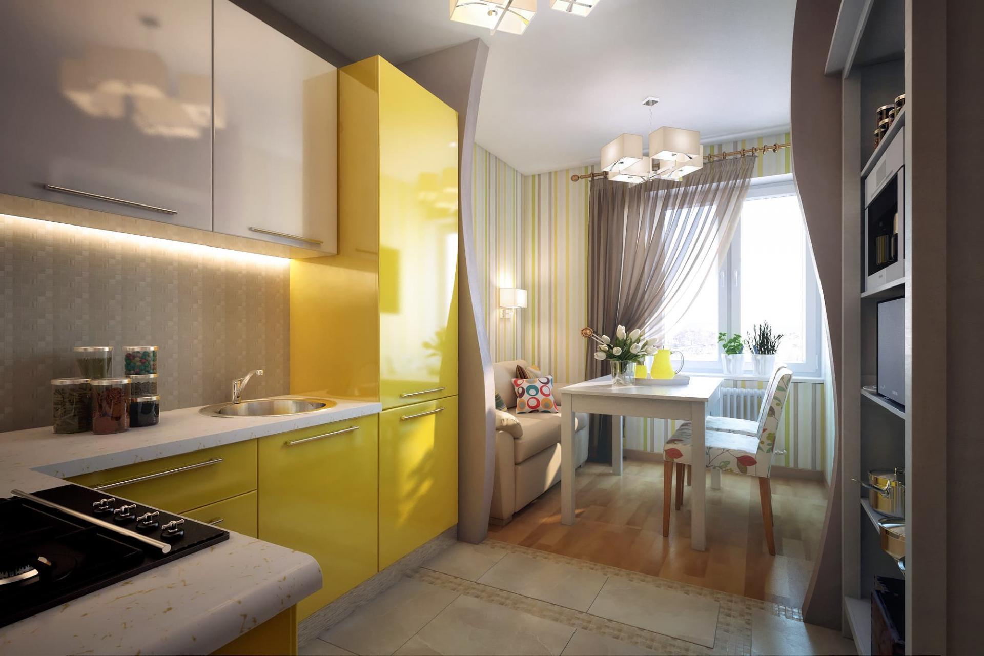 Кухня 14 кв м дизайн с балконом с диваном.